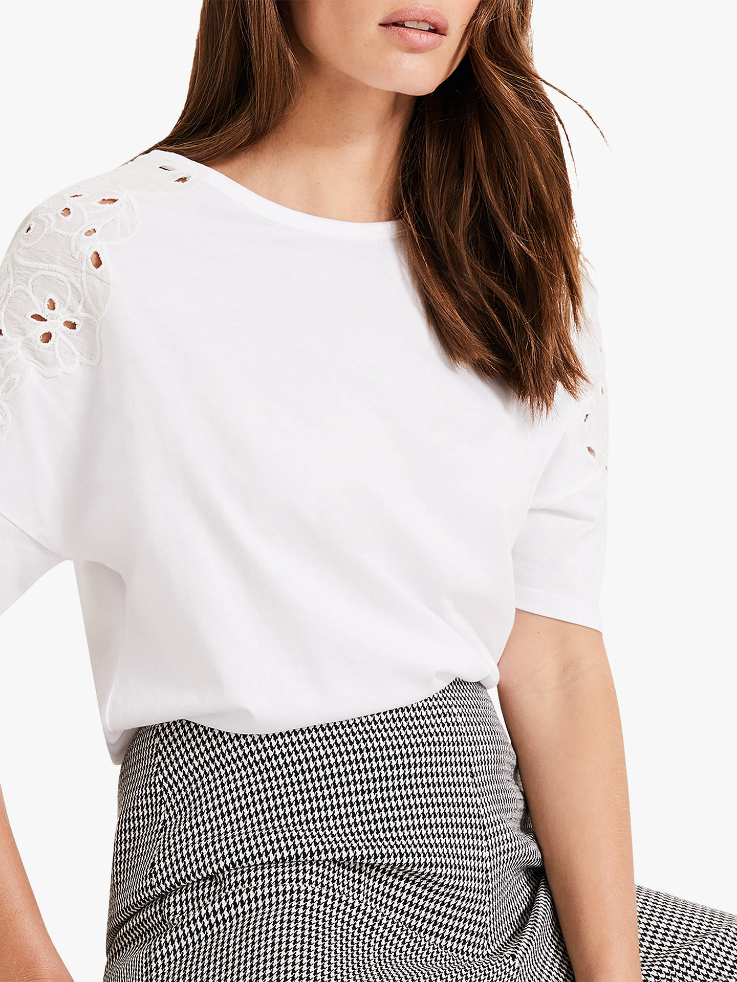 Buy Phase Eight Kaley Cutwork T-Shirt, White, 8 Online at johnlewis.com