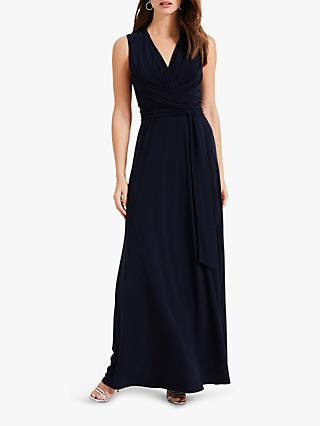Phase Eight Leila Tie Maxi Dress, Navy