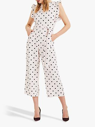 Phase Eight Verena Spot Culotte Jumpsuit, Shell Pink