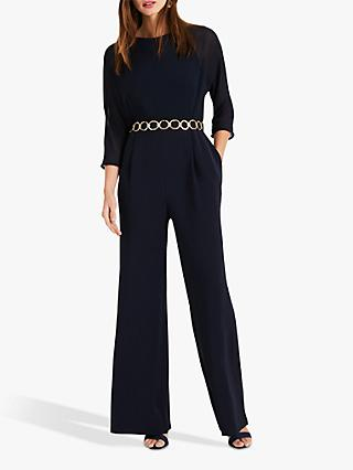 Phase Eight Tiffany Belted Jumpsuit, Navy