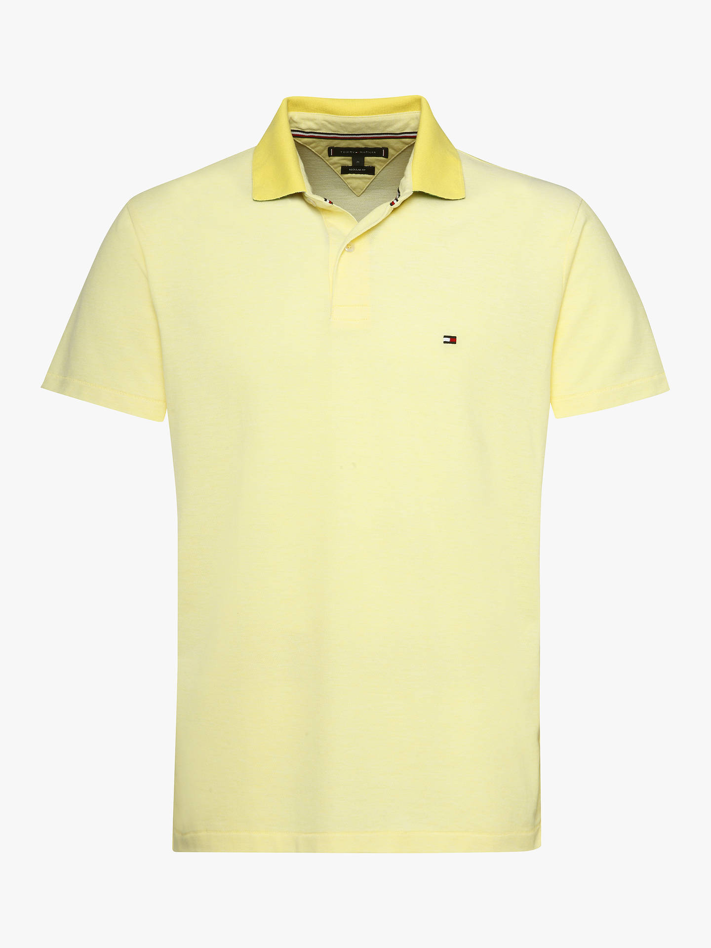 49ddd8ec Buy Tommy Hilfiger Under Collar Print Regular Polo Shirt, Yellow, M Online  at johnlewis ...