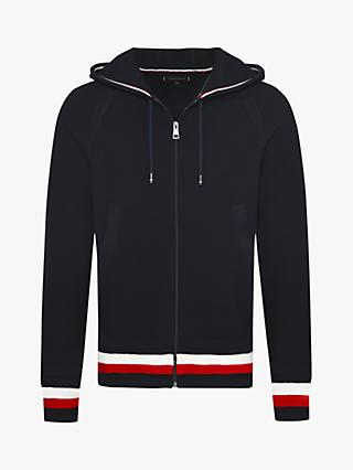 Tommy Hilfiger Structured Branded Zip Hoodie, Navy