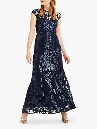 Phase Eight Yolanda Sequin Floral Overlay Maxi Dress, Navy