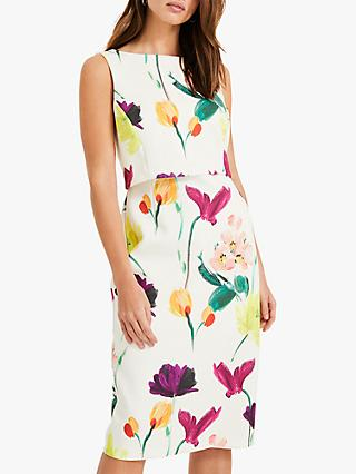 Phase Eight Elin Floral Dress, Ivory/Multi