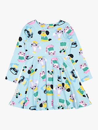 Polarn O. Pyret Children's Cats and Dogs Dress, Blue