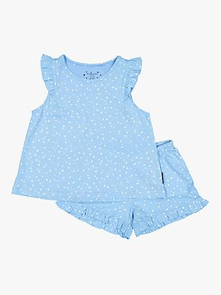 Polarn O. Pyret Baby GOTS Organic Cotton Dotty Top and Shorts Pyjama Set, Blue