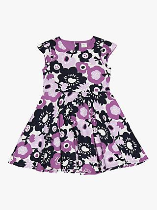 Polarn O. Pyret Children's Floral Print Dress, Purple