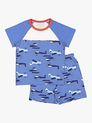 Polarn O. Pyret Children's Plane Short Pyjamas, Blue