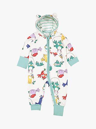 e758a935c4d Polarn O. Pyret Baby Organic Cotton Bird Print Hooded Sleepsuit