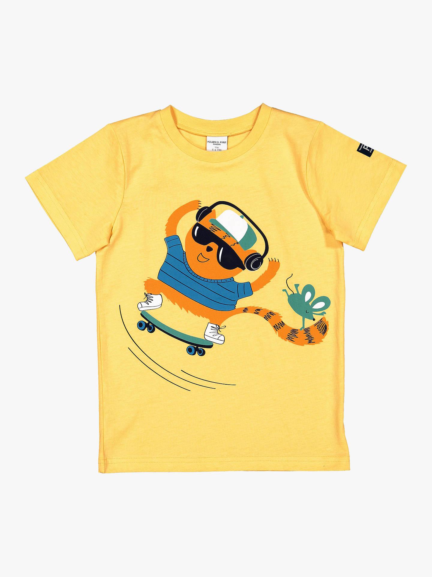 8d9acd2e Buy Polarn O. Pyret Children's GOTS Organic Cotton Graphic Print T-Shirt,  Yellow ...