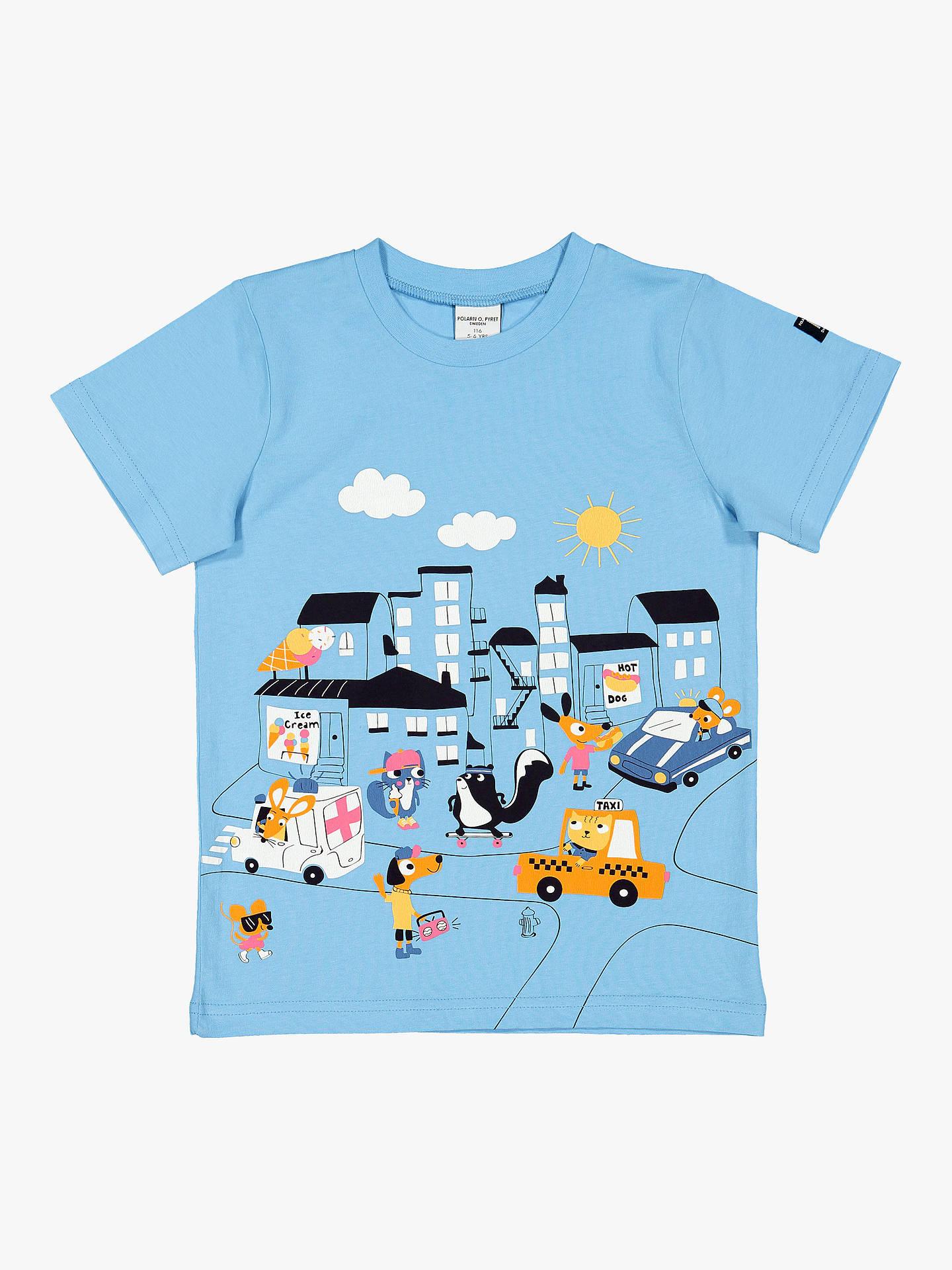0770c41e Buy Polarn O. Pyret Children's GOTS Organic Cotton Graphic Print T-Shirt,  Blue ...