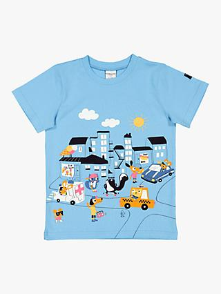 Polarn O. Pyret Children's GOTS Organic Cotton Graphic Print T-Shirt, Blue