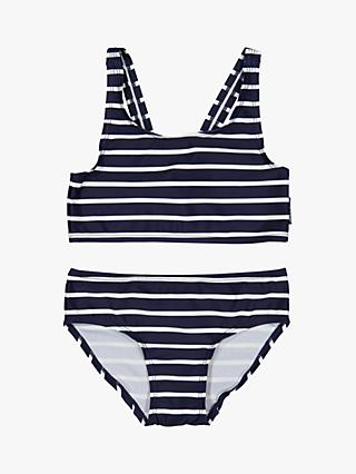 Polarn O. Pyret Children's Stripe Bikini Set, Blue/White