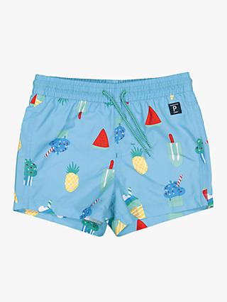 Polarn O. Pyret Children's UV Ice Cream Fruit Swim Shorts, Blue
