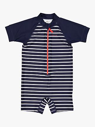 Polarn O. Pyret Children's Stripe All-In-One Swimsuit, Navy