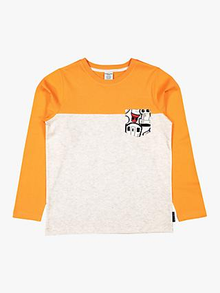 Polarn O. Pyret Children's Colour Block Long Sleeve T-Shirt, Beige/Orange