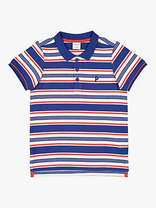 Polarn O. Pyret Children's Stripe Polo Shirt, Blue