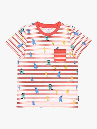 Polarn O. Pyret Baby Monster Stripe T-Shirt, Red