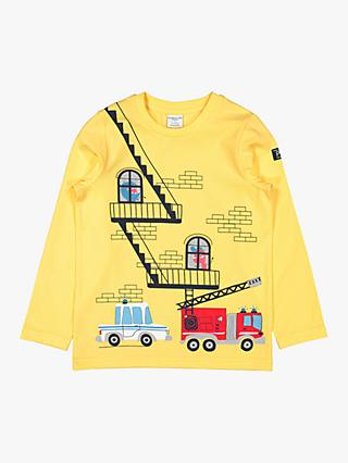 Polarn O. Pyret Children's GOTS Organic Cotton Fire Engine Print Top, Yellow