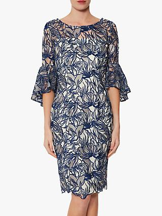 Gina Bacconi Lita Embroidered Floral Dress, Navy/White