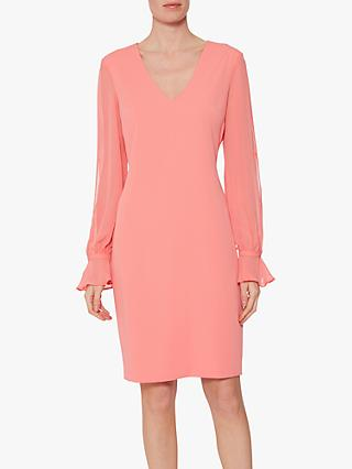 Gina Bacconi Luvia V-Neck Crepe Dress