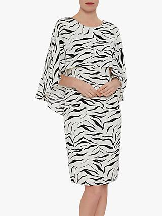 Gina Bacconi Riona Zebra Print Dress, White/Black