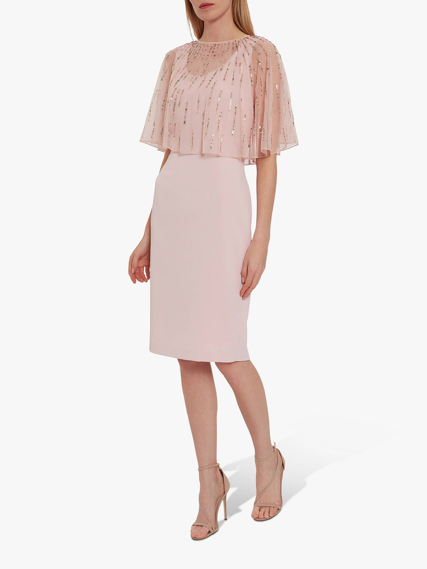 Buy Gina Bacconi Roena Mesh Cape Dress, Potpourri Pink, 8 Online at johnlewis.com