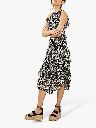 999d58f00a Mint Velvet Floral Mix Print Ruffled Dress, Multi
