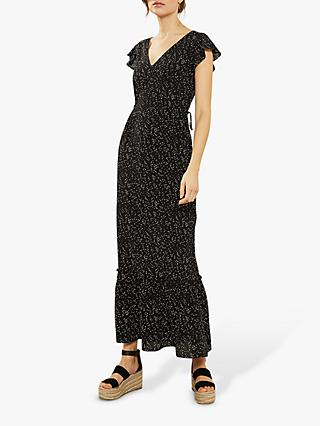 Mint Velvet Black Spot Ruffled Maxi Dress, Black/Multi