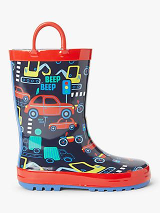 John Lewis & Partners Children's Transport Wellington Boots, Navy