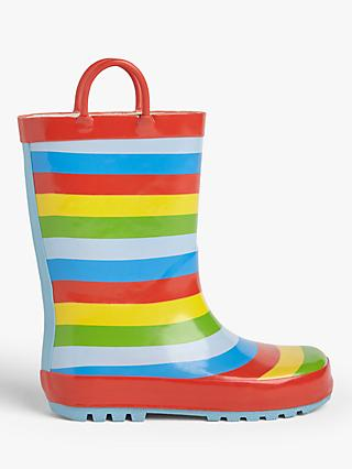 John Lewis & Partners Children's Raindrop Wellington Boots, Rainbow