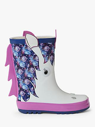 John Lewis & Partners Children's 3D Unicorn Wellington Boots, White
