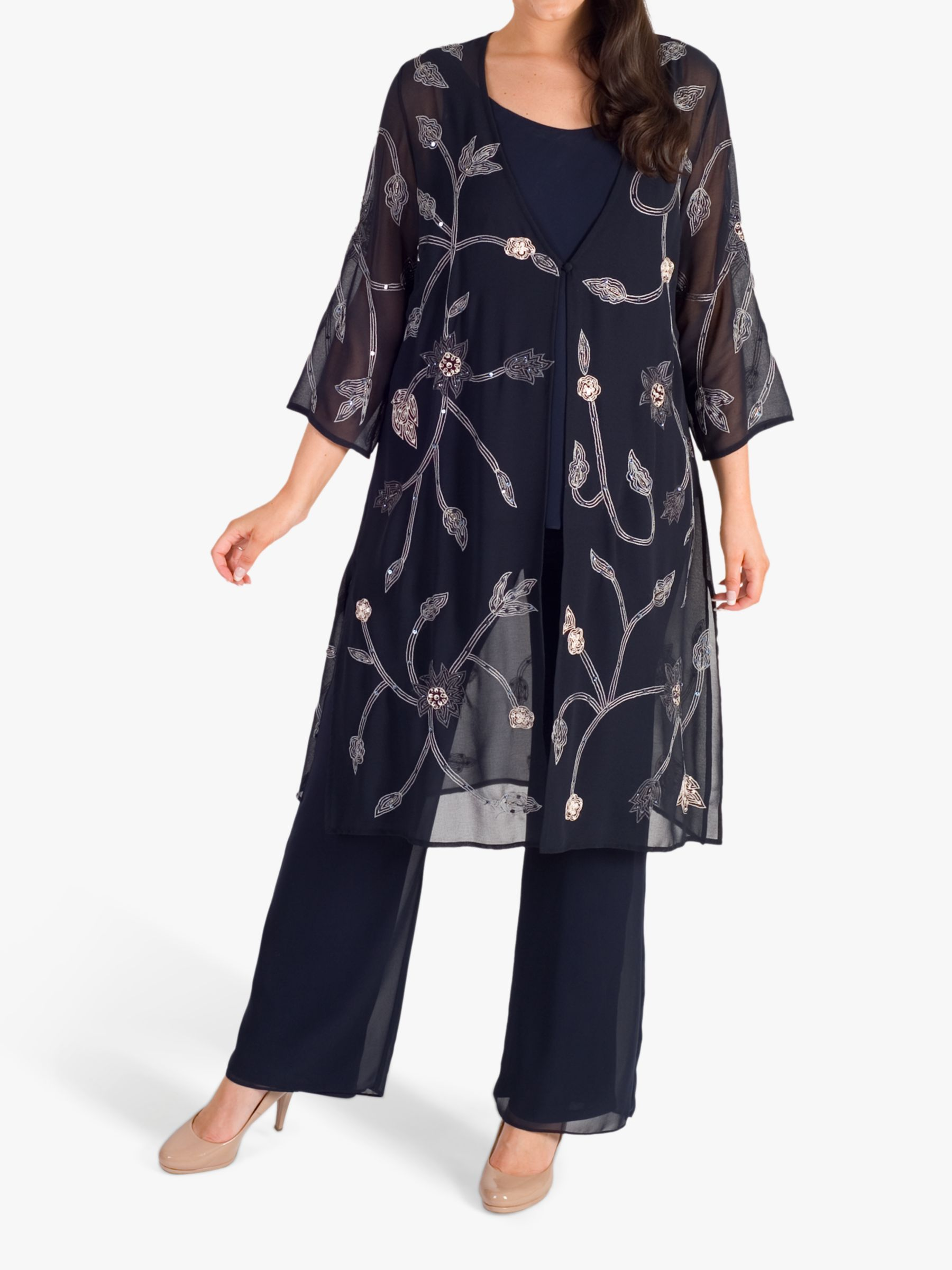Chesca Chesca Embroidered Chiffon Coat, Navy