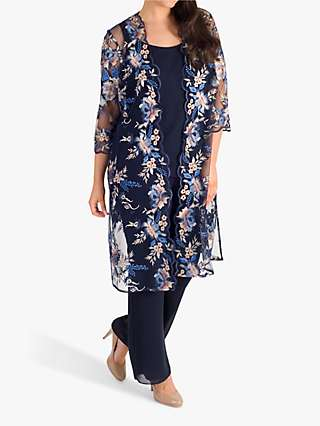 Chesca Embroidered Mesh Coat, Navy