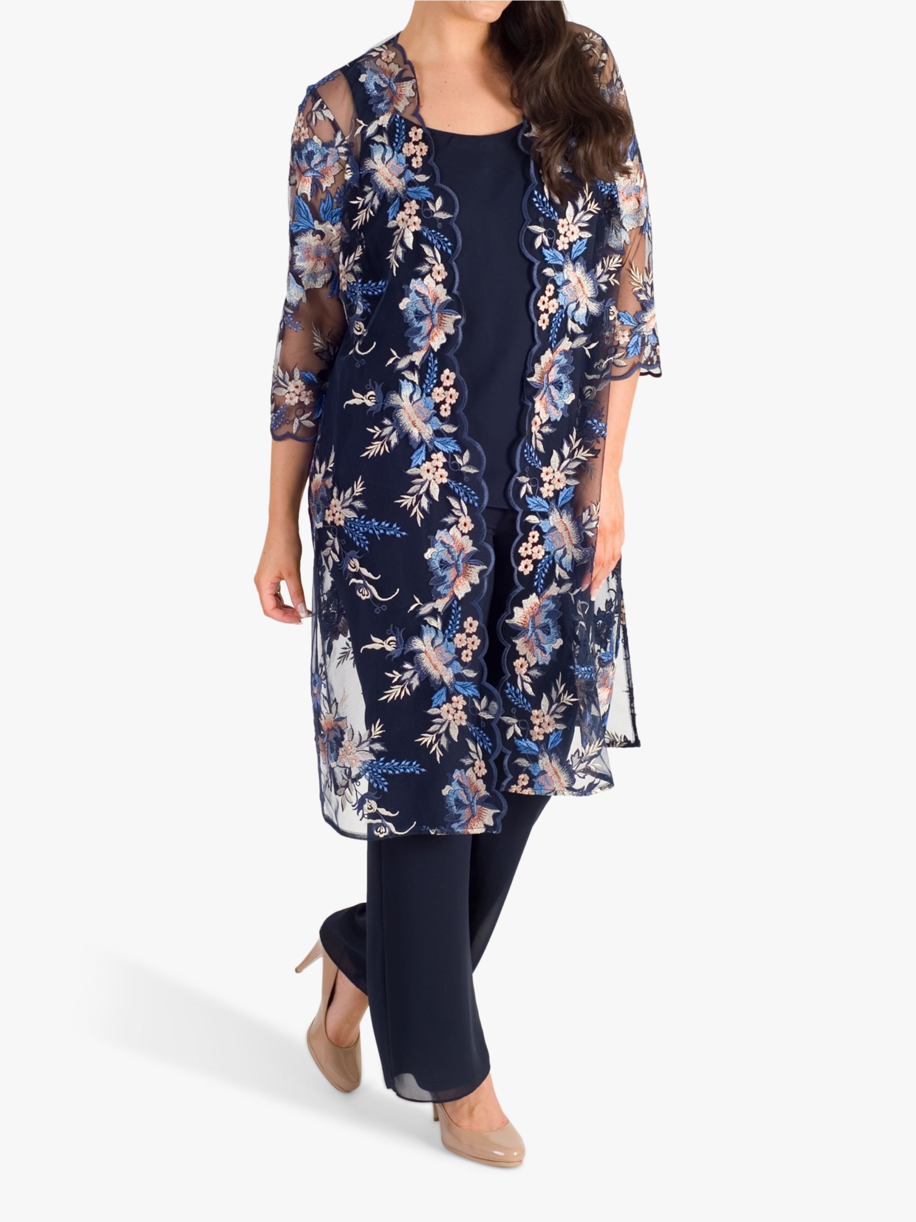 Chesca Chesca Embroidered Mesh Coat, Navy