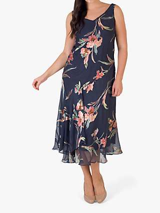 Chesca Floral Devoree Iris Print Dress, Pewter