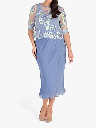 chesca Bluebell Mock Wrap Dress, Bluebell
