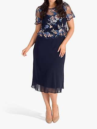 Chesca Embroidered Floral Dress, Navy/Multi