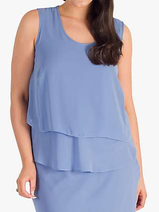 Chesca Round Neck Sleeveless Wrap Top, Bluebell