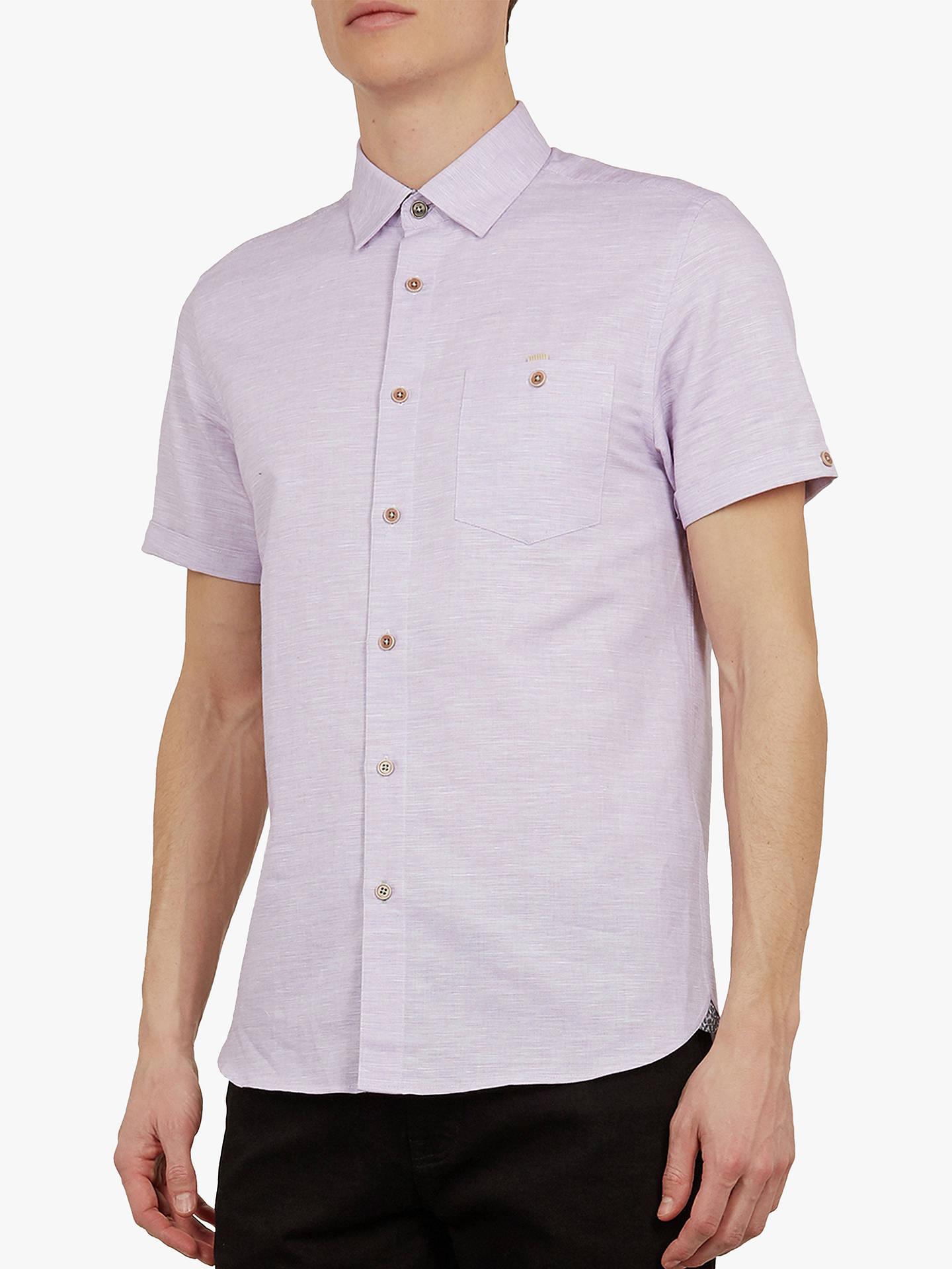 Ted Baker Clion Linen Blend Short Sleeve Shirt, Mid Purple