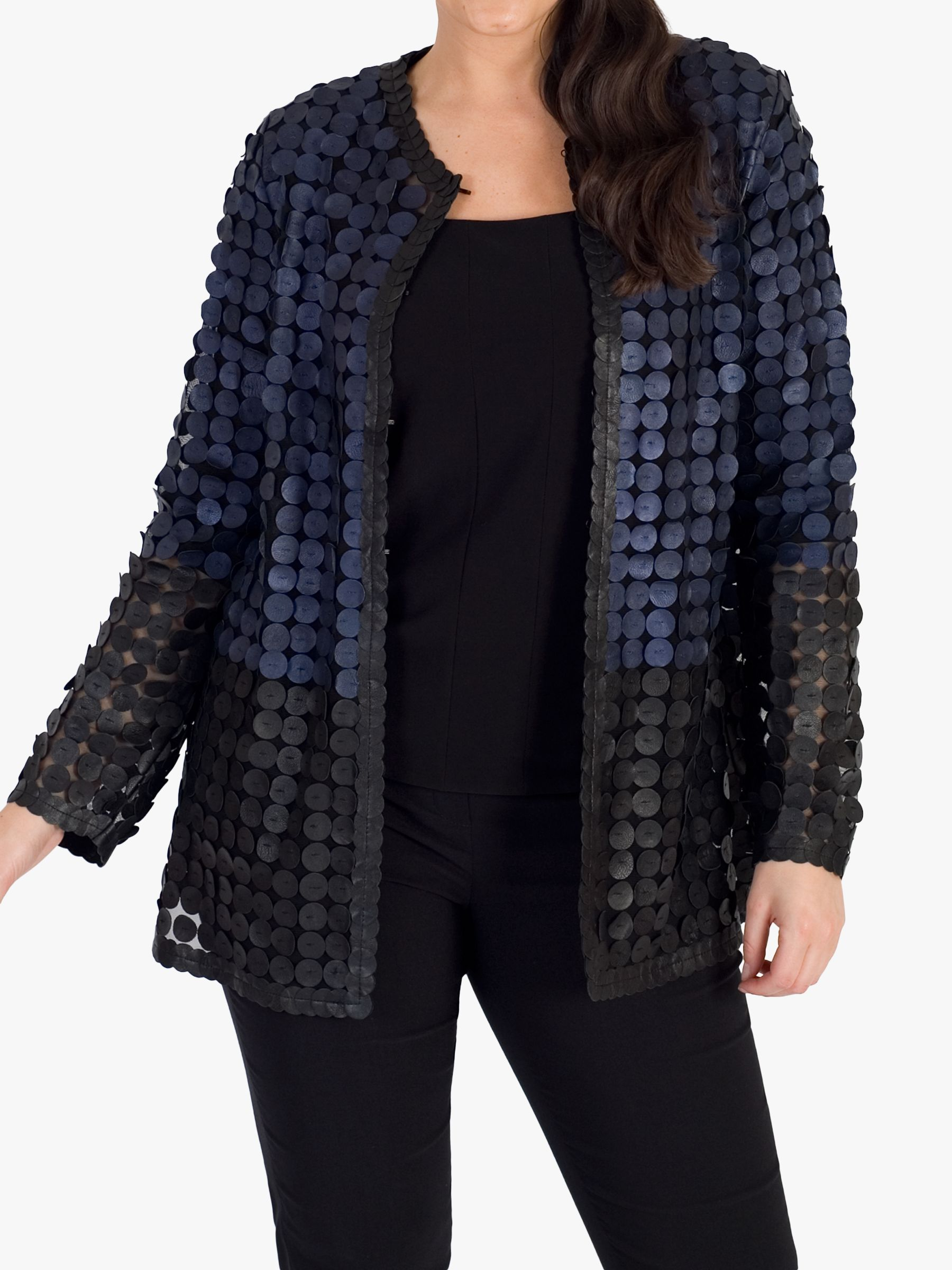 Chesca chesca Colour Block Disc Leather Jacket, Navy/Black