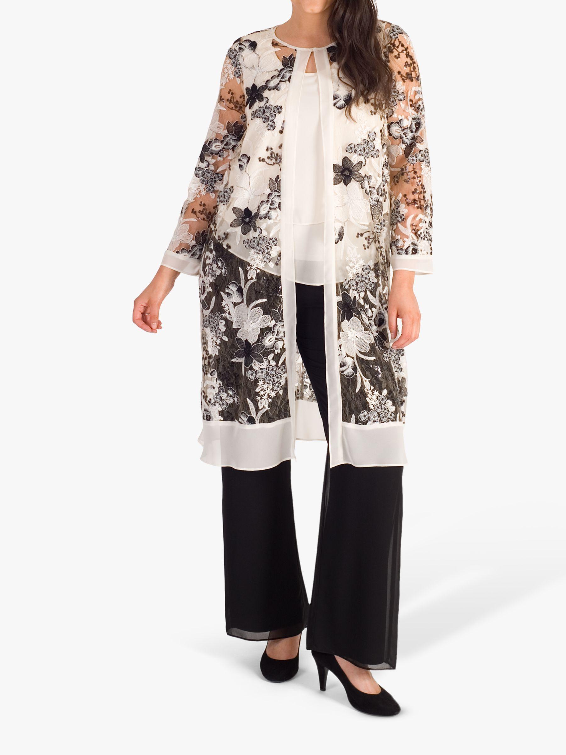 Chesca chesca Embroidered Sequin Coat, Black/Cream