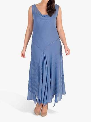 Chesca Beaded Cowl Neck Dress, Bluebell