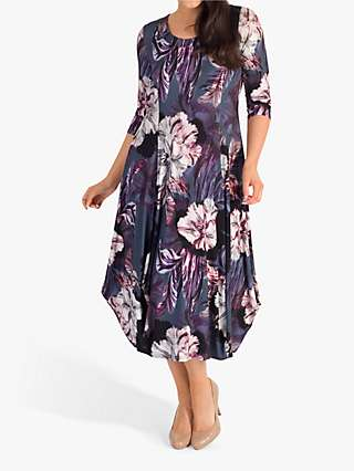 Chesca Floral Print Jersey Dress, Pewter