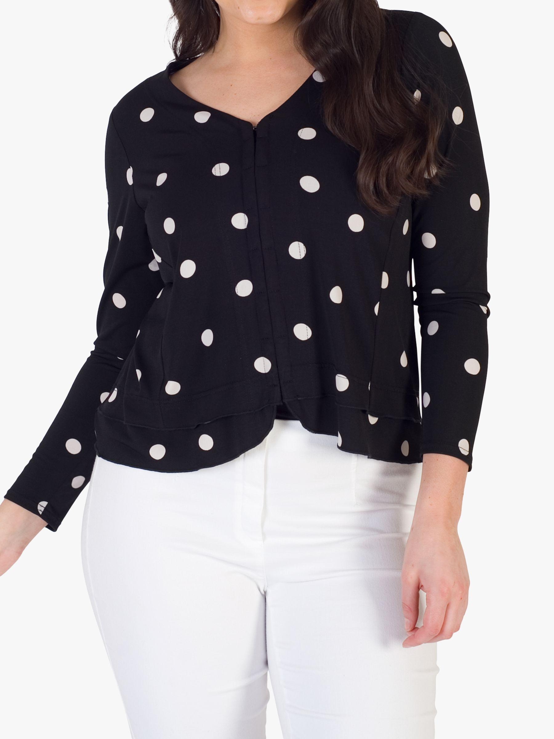 Chesca chesca Jersey V-Neck Frill Hem Spot Jersey Jacket, Black/Ivory