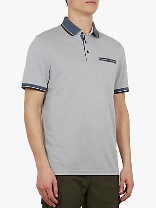 Ted Baker Habtat Soft Touch Polo Shirt, Mid Blue