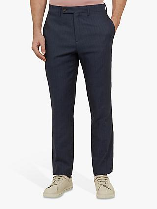 Ted Baker Balrtro Linen Blend Herringbone Suit Trousers, Navy