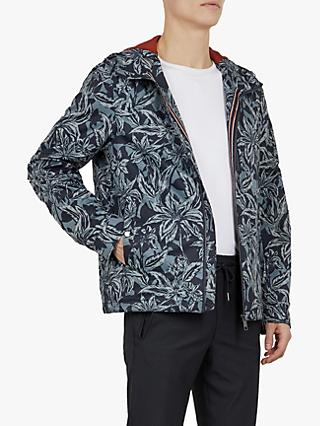Ted Baker Paso Floral Printed Cagoule, Navy Blue