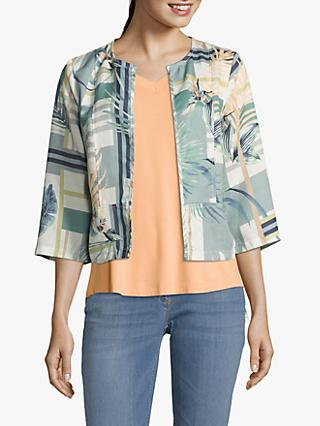 Betty & Co. Leaf Print Jacket, White/Emerald
