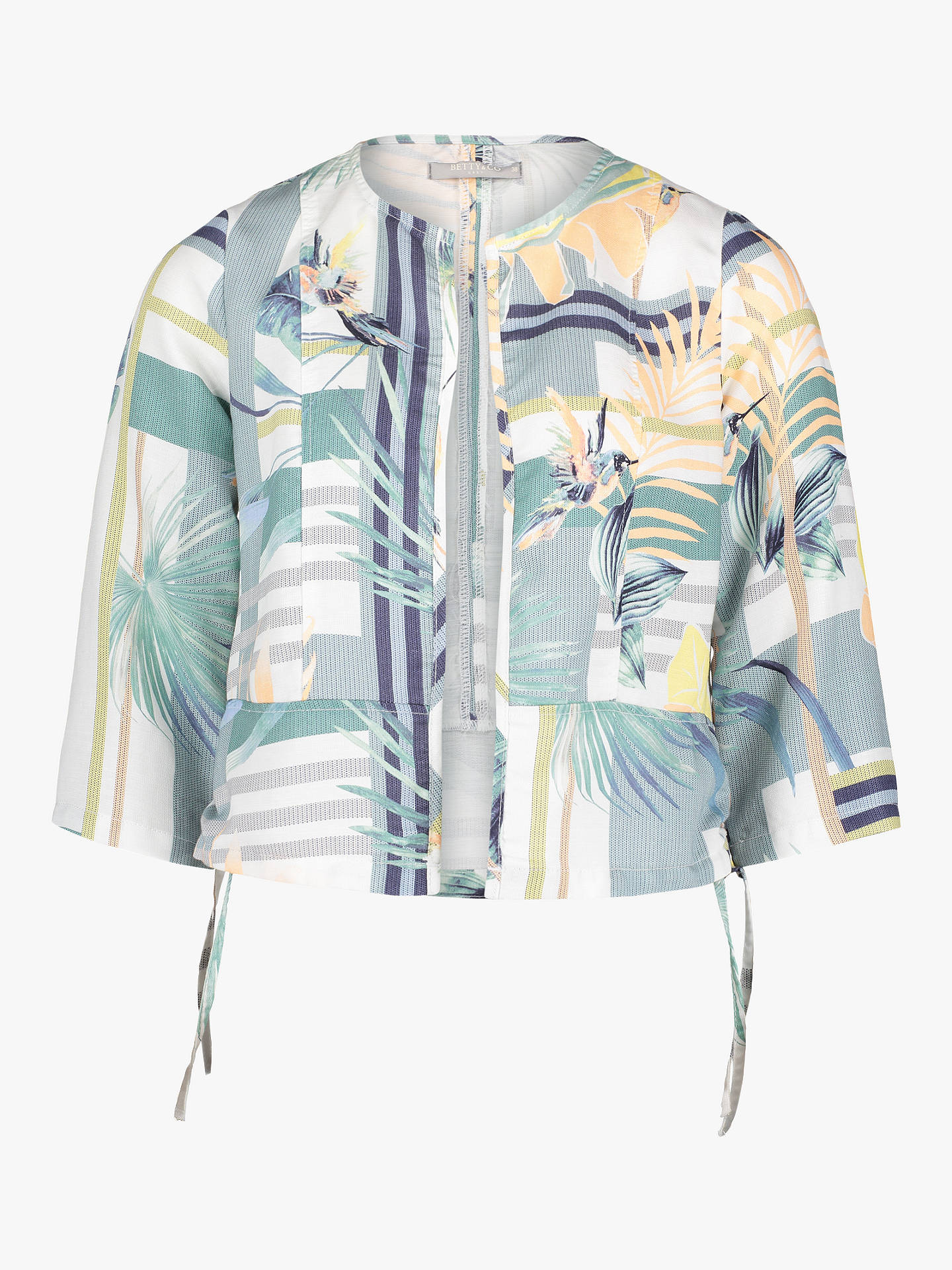 Buy Betty & Co. Leaf Print Jacket, White/Emerald, 12 Online at johnlewis.com